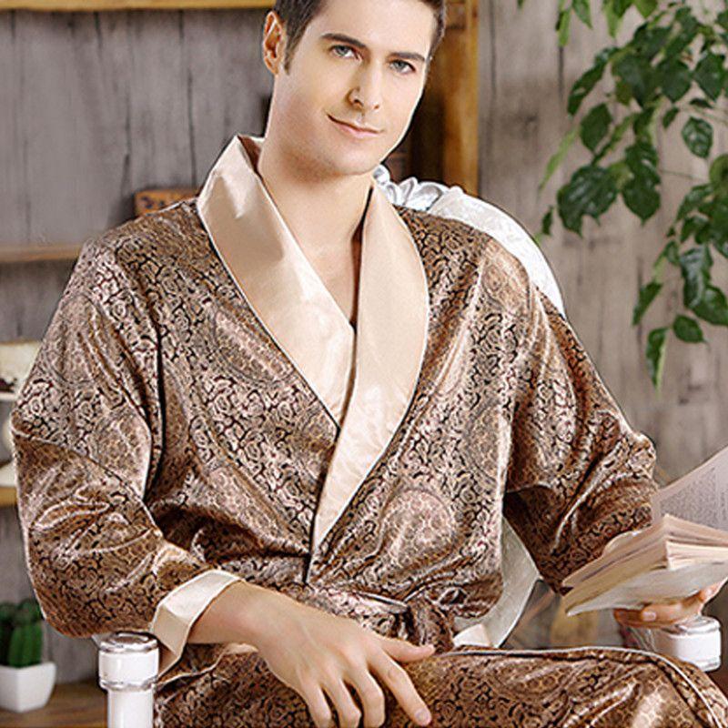 Male New Real Mens Luxury Bathrobe Geometric Robes V Neck Lmitation Silk  Knitted Sleepwear Full Sleeve Nightwear XXXL UK 2019 From Geraldi 409ceb2d15a2