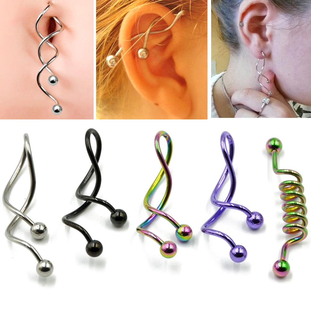 Bog 1pc Twist Spiral Ear Industrial Spiral Navel Belly Button Ring Piercing Barbells Nombril Ombligo Earring Piercing Jewelry14g