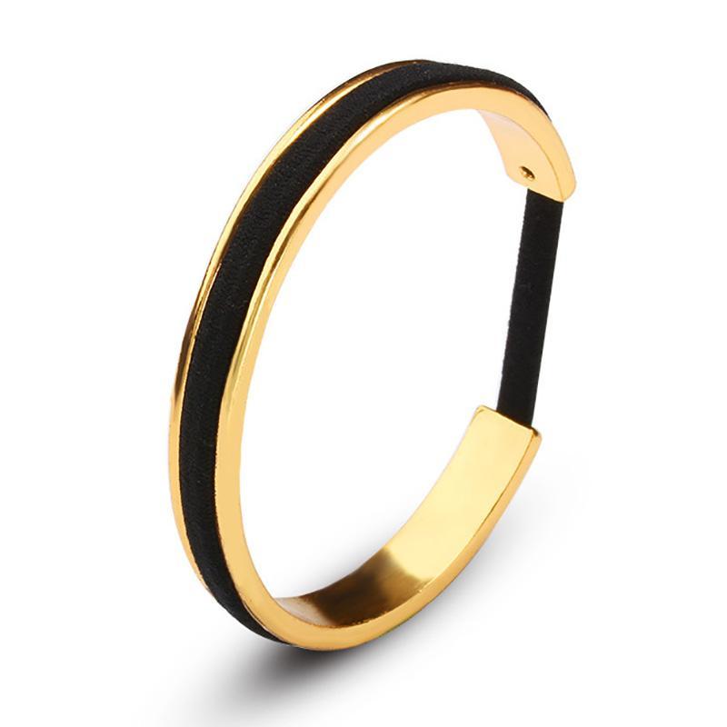2018 Black Hair Tie Bracelets Rose Gold Color Silver Color Open Cuff Bangles  For Women Men Jewelry Hand Accessories Adjustable Gold Bangles For Men  Enamel ... 7deb753623e