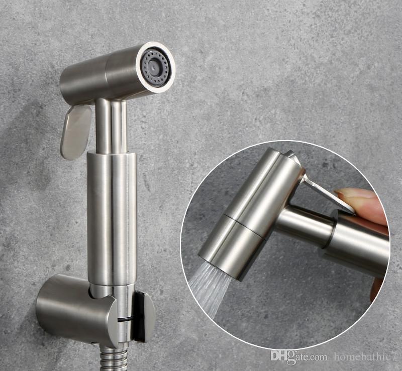 NEUES dünnes gebürstetes Handdusche-Windel-Bidet-Sprüher-Toiletten-Shattaf mit 1.5m Schlauch-Metallhalter-Satz