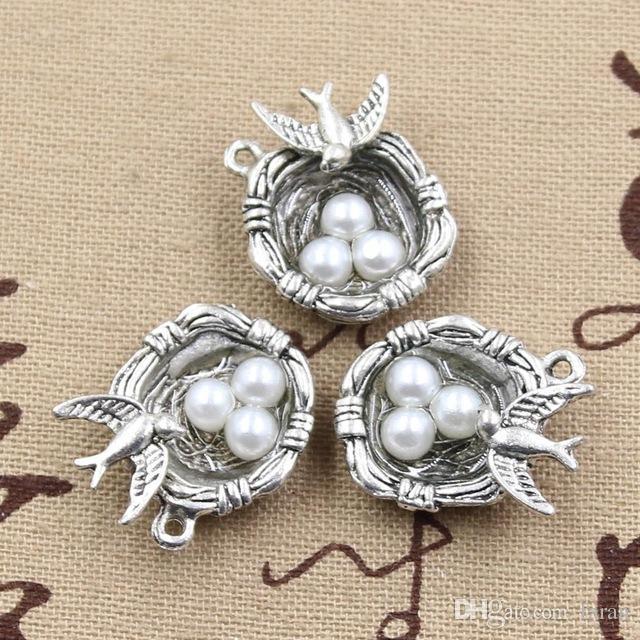 Wholesale 99Cents 2pcs Charms Swallow Birds Nest Eggs 24198mm Antique Making Pendant FitVintage Tibetan SilverDIY Bracelet Necklac