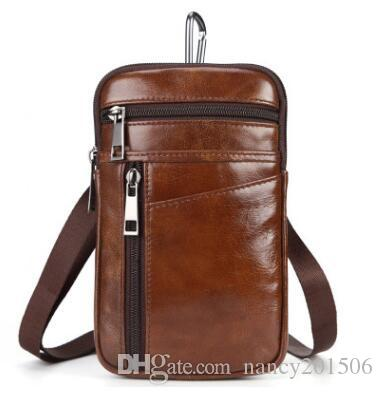 9200626c1665 New Fashion Genuine Leather Waist Packs Belt Bag Phone Pouch Bags Travel Waist  Pack Male Small Waist Bag Men Handbags Online with  32.1 Piece on ...
