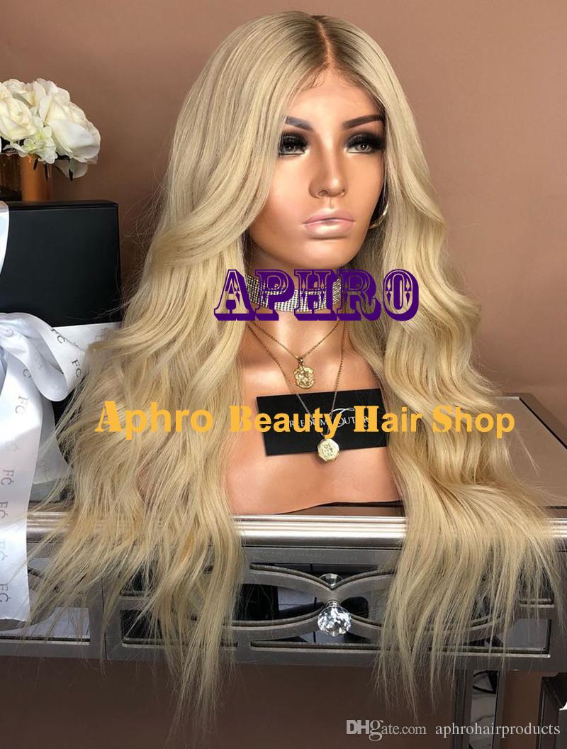 Middle Parting 613 Blonde Full Lace 5x5 inch Silk Top Wig 100% European Human Hair Wig 180% Density Natural Wave Blonde Wigs With Dark Roots
