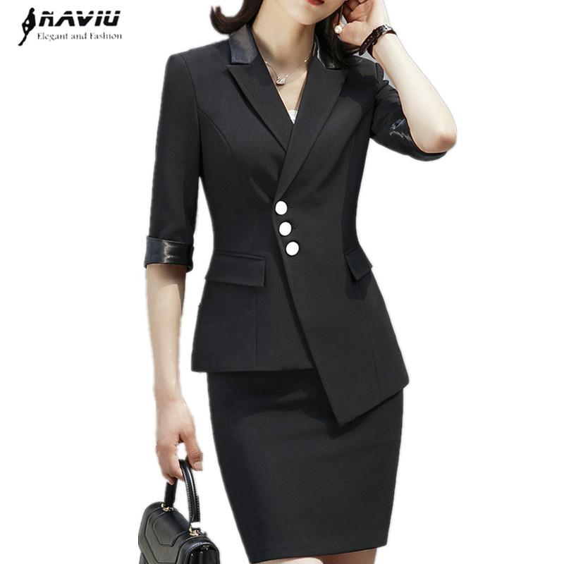 half off f1385 9d047 Affari formale gonna abito donna elegante mezza manica giacca e gonna  temperamento ufficio Intervista più dimensioni Abbigliamento da lavoro
