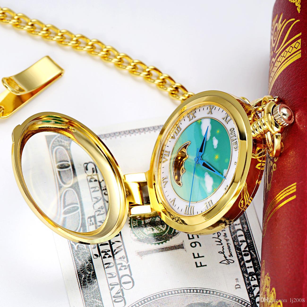 Fashion Brand OUYAWEI Mechanical Pocket Watch Men Full Steel Case Pocket Fob Watch Analog Gold White Dial Vintage Male Relogios