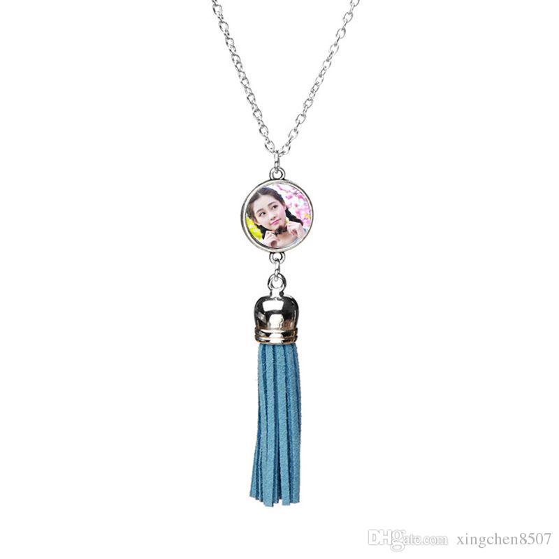 leerer Sublimationhalskettenanhängerquasten-Halskettenanhänger für kundenspezifische Schmucksachegeschenke der Frauen DIY neuer Art 5colours Großverkauf