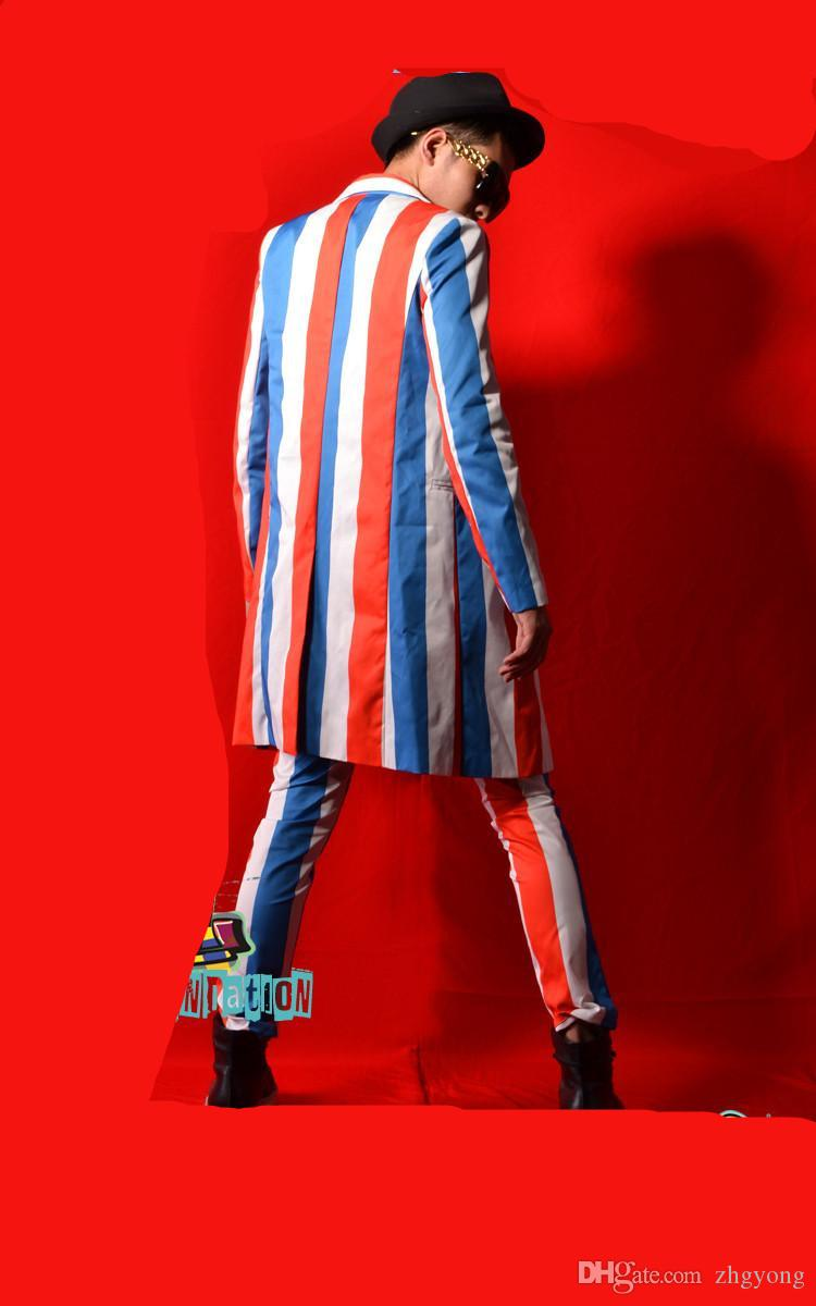 Red white blue striped men suit male singer dancer star nightclub bar stage show DJ DS prom costumes long jacket coat pants trousers sets