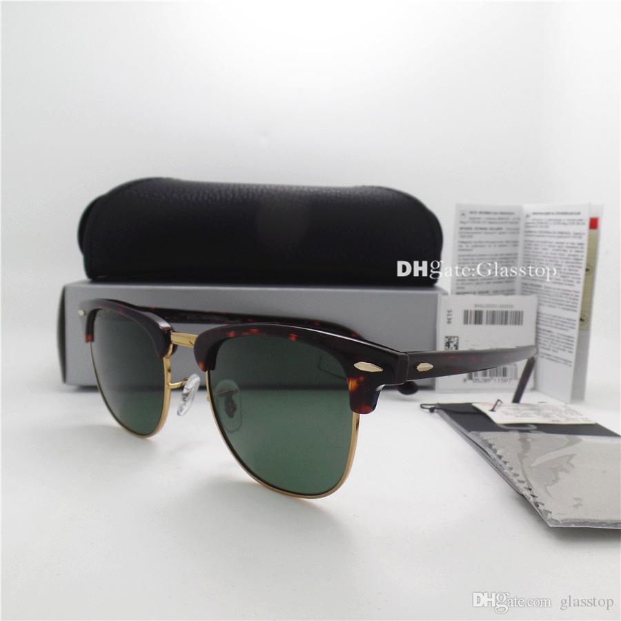 TOP Quality Glass Lens Fashion Men Women Plank Frame Sunglasses UV400 51MM Half Frame Designer Vintage Protecton Mercury Mirror Case Box