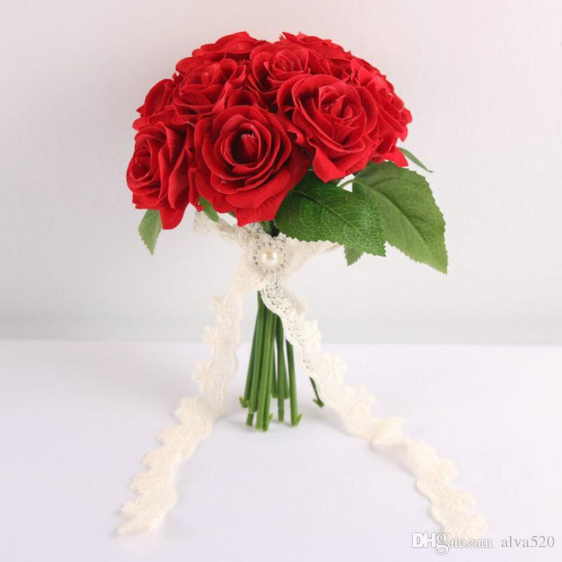 2018 Small Wedding Bouquets With Lace Handle Artificial Red Rose ...