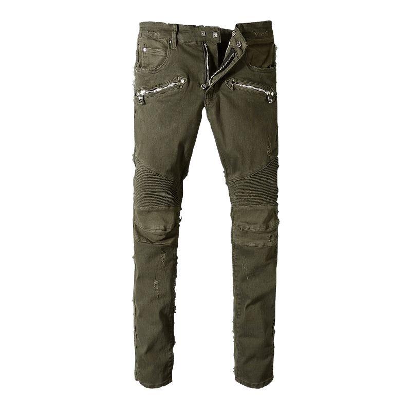 650c06658c1c7 Compre Balmain Moda Para Hombre Recto Slim Fit Biker Jeans Pantalones  Apenado Flaco Rasgado Destruido Denim Jeans Washed Hiphop Pantalones A   144.17 Del ...
