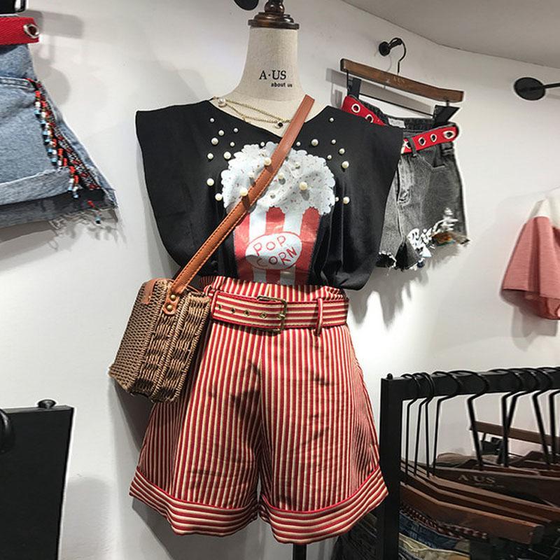 Compre 2018 Verano Nueva Correa A Rayas Que Prensan Los Pantalones Cortos  Para Las Mujeres De Moda Estilo Coreano Pantalones Cortos Femeninos Sueltos  A La ... 17e587753765