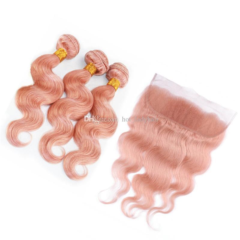 Hellrosa gewelltes menschliches Haar weben 3 Bundles mit Frontal-Spitze Schließung Rose Gold Pink Körperwelle Malaysian Virgin Hair Extensions mit Frontal