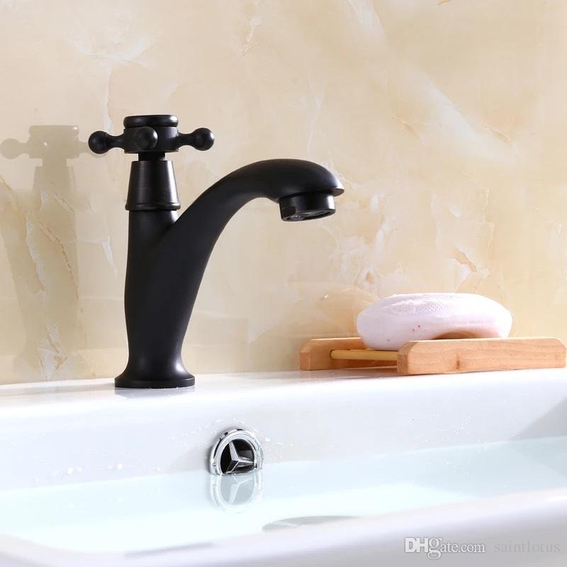black Bathroom Water Mixer Basin Faucet deck mounted full copper Mixer Tap single hole Cold water Faucet Bathroom Sink Faucets