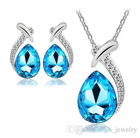 Natürliche Kristalltropfen-Form-Anhänger Strasshalsketten-Ohrringe Klassische Swarovski Elements 9 Farben Optional Mode Frauen Schmuck