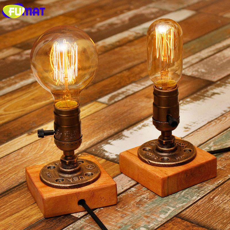 2019 Fumat Loft Pipe Lamp Industrial Vintage Table Lamps E26 Holder