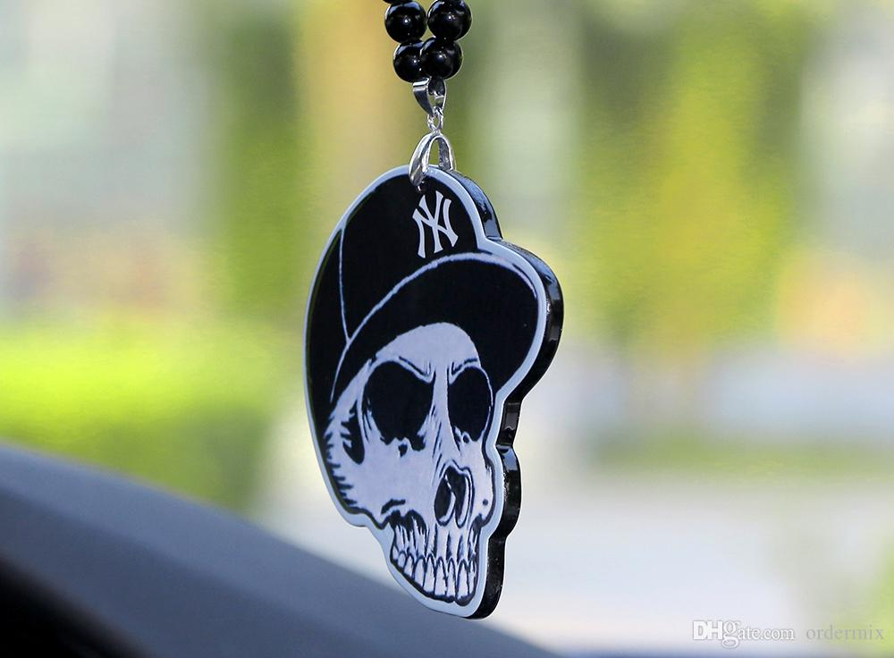 Car Pendant Acrylic Skeleton Head JDM Automobiles Interior Rear View Mirror Charms Ornaments Hanging Suspension Christmas Gift
