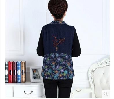 Среднего возраста и старых женщин жилет в весенне-осенний период и хлопок вышитые джинсовый жилет плюс размер XL-5 XL