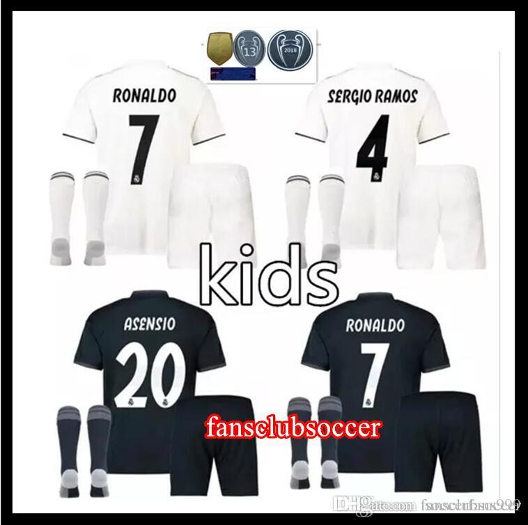 newest e5507 78966 2017 Real Madrid RONALDO kids soccer jerseys full sets with socks boys  child kits 16 17 18 Home White Third JAMES BALE football shirts