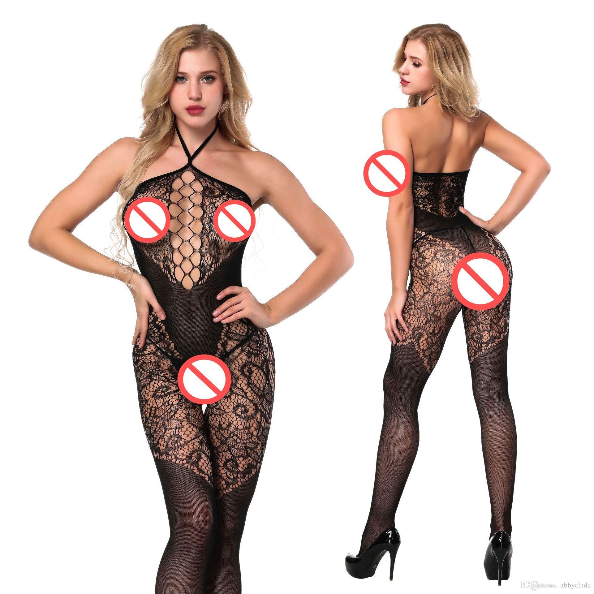053105e2595 2019 2018 New Sexy Women Sexy Lingerie Hot Sleepwear Catsuit Seamless Open  Crotch Opaque Tattoo Halter Neck Bodystocking From Abbyelade