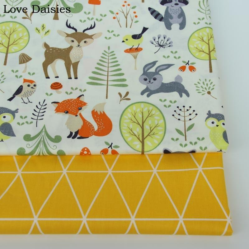 100% cotton twill cartoon animals fox deer forest yellow tri angle fabrics for DIY kids crib bedding sheet handwork
