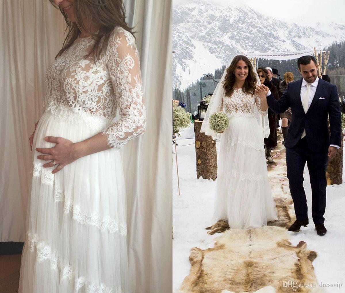5c50b0922b040 Discount 2018 Lihi Hod Maternity Wedding Dresses Lace Applique Tulle Sweep  Train 3/4 Long Sleeve Bridal Dress For Pregnant Woman Plus Size Gowns Plus  Size ...