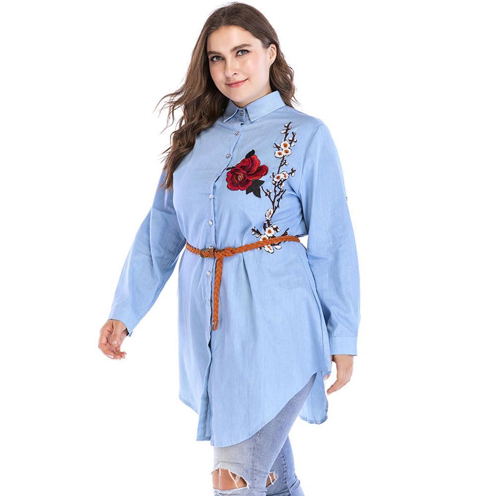 e56475b64 Compre Mujeres 5XL 6XL Tallas Grandes Blusa Tops Floral Bordado Verano  Camisa Feminina Turn Down Collar Manga Larga Casual Camisa Larga 2018 A  $46.08 Del ...
