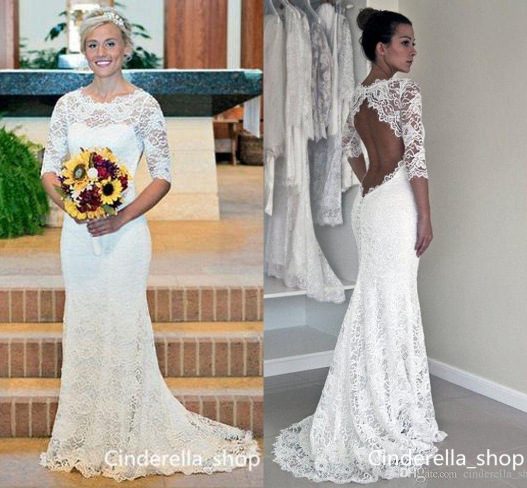 2585e2425e2 Lace Beach Mermaid Wedding Dresses 2018 Hollow Back Jewel Illusion Bodice  Sweep Train Bohemian Bridal Gowns Custom Cheap Vestido De Novia Bridal  Gowns 2015 ...