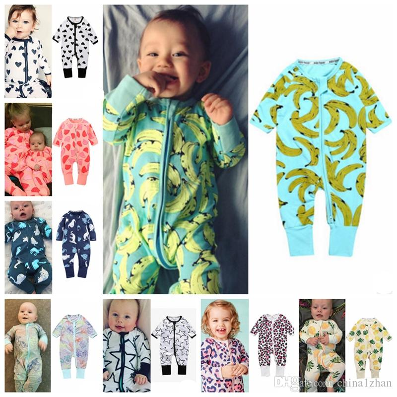 46606a983 Compre INS Macacão De Bebê Menino De Algodão Pijama Manga Longa Baby Girl  Macacões Coração Banana Impresso Pijama Roupas De Bebê 37 Projetos DHW1700  De ...