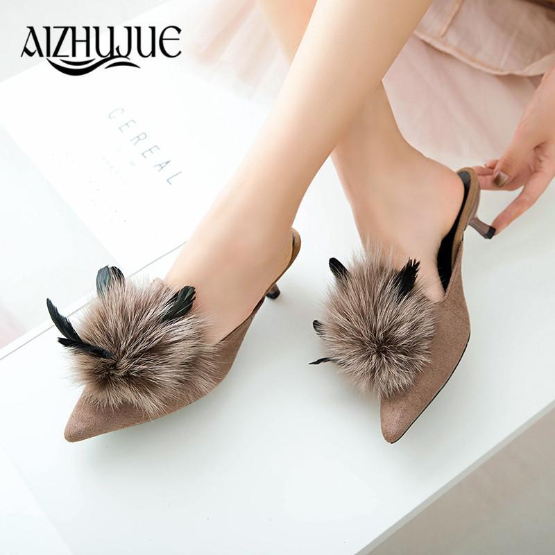 seleccione para auténtico nueva lanzamiento venta de liquidación women pumps designer shoes faux fur tacones altos mujer sexy women slipper  shoes high heel 4 colors slides