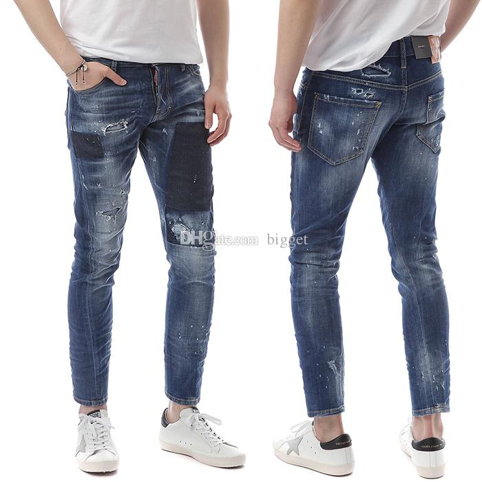 0691442957e 2019 Man Contrast Shadow Panel Damage Jeans Bleach Fade Wash Skinny Fit  Denim Pants Cool Guys From Bigget
