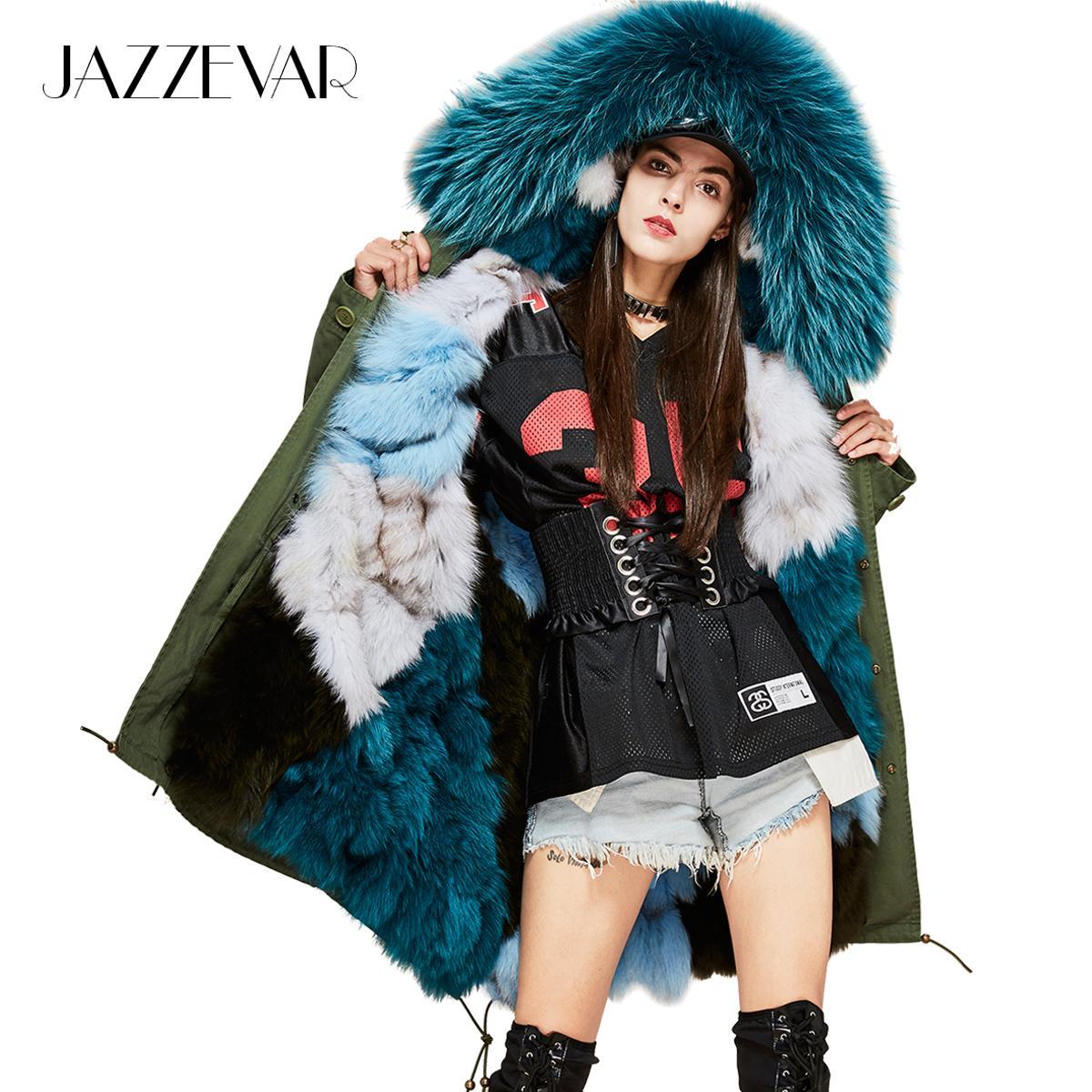 922d7e701 JAZZEVAR New Fashion Woman Luxurious Real Fox fur lining Military Parka  MIDI Large Raccoon fur Hooded Coat Outwear Winter Jacket S930