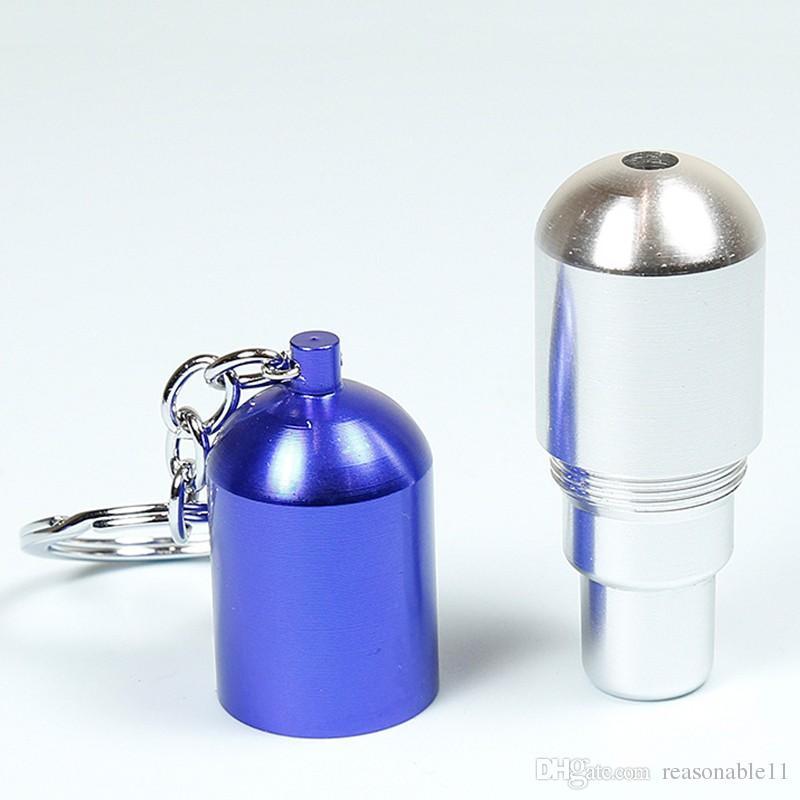 금속 필터 개폐식 파이프 Keychain 담배 파이프 허브 키 링 담배 파이프 선물 Narguile 그라인더 연기