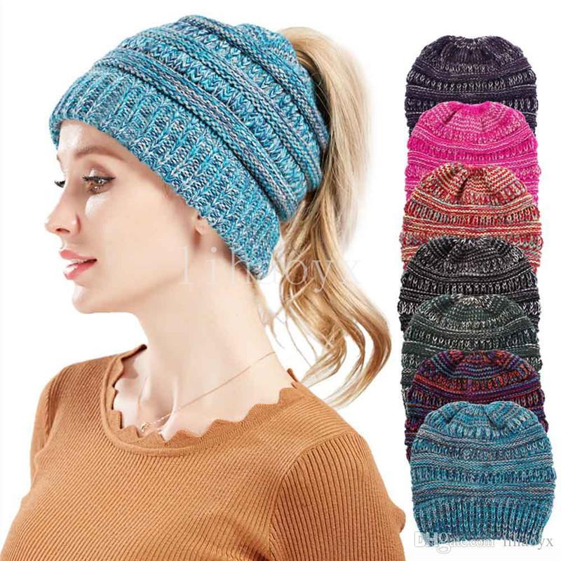 Ponytail Beanie Women Crochet Winter Beanie Skullies Knitted Warm Cap  Beanies For Ladies Colorful Bohemian Ponytail Hat Ski Hats Newborn Hats  From Lihaoyx 447eab26532