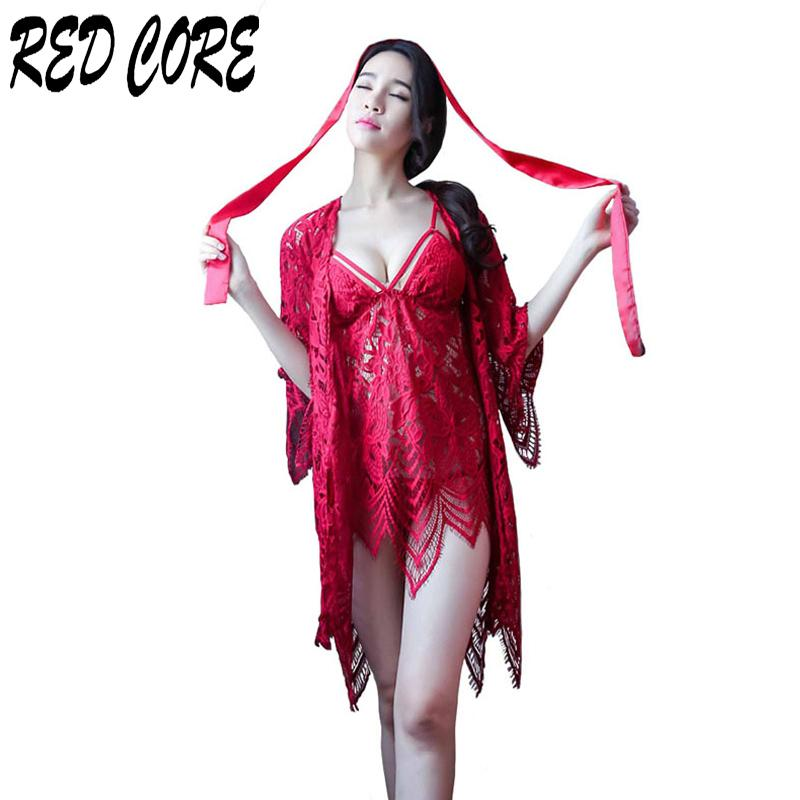 2019 REDCORE Sexy Sleepwear Ladies Lace Nightwear Women Summer Luxury Two  Pieces Night Dress Fashion V Neck Nightgown Home Clothes From Sweatcloth 3b7e7b30e