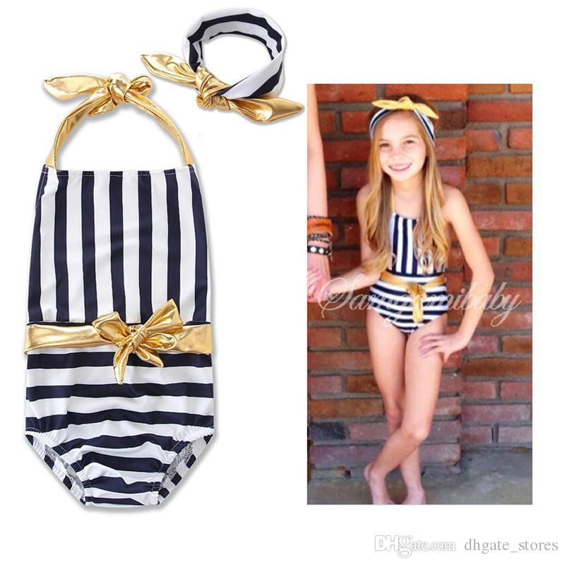 اعتصامات 2-6T Girl's Swimwear One Piece Swimsuit اثنين من قطعة بيكيني مجموعة الرسن BOWKNOT أنبوب أعلى + موجزات الاستحمام الدعاوى الشاطئ جديد 2018 الساخن