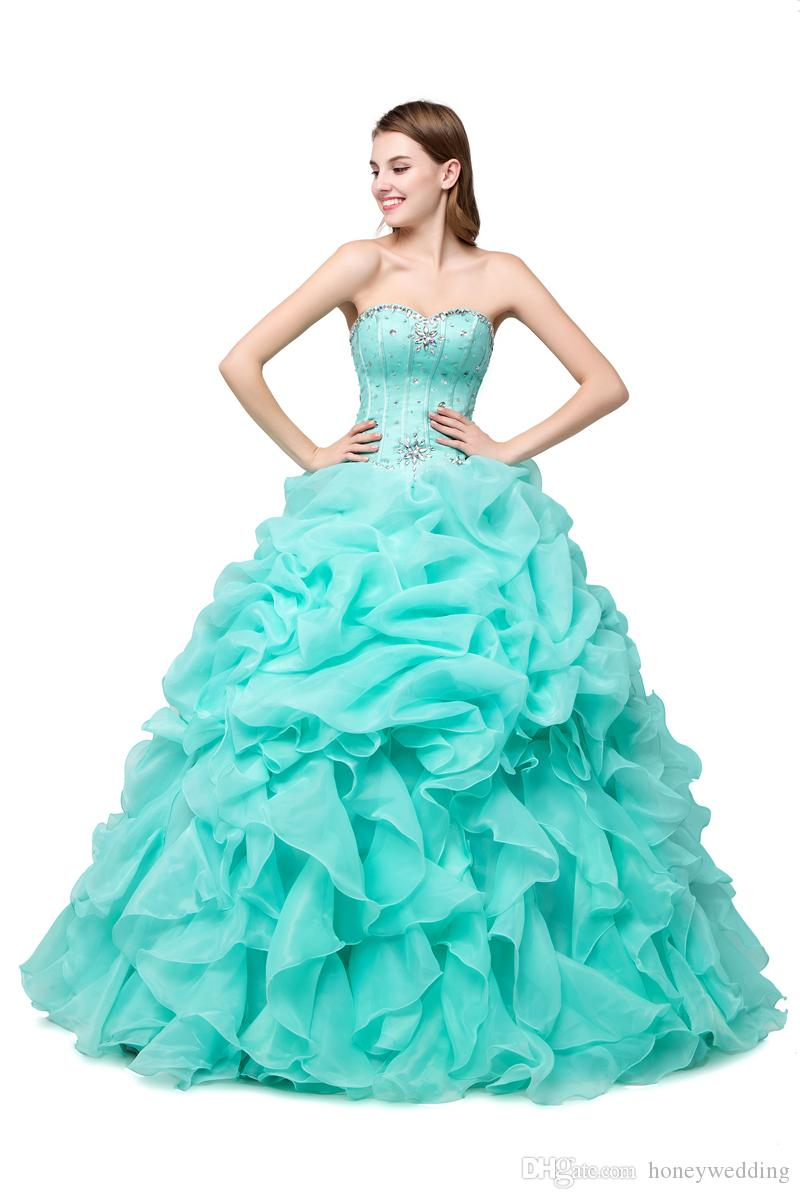 Mint Green Quinceanera Dresses Cheap 2019 Ball Gown Masquerade Prom Dresses Real Photo Crystal Beaded Ruffles Hot Pink Sweet 16 Dress