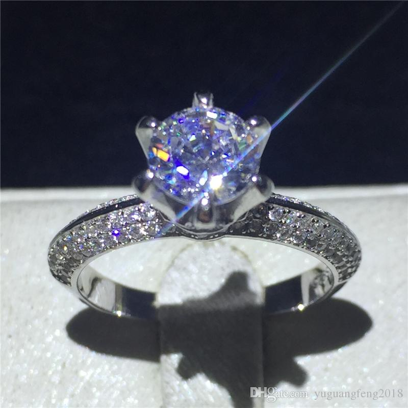 Classic Six claw 100% Soild 925 Sterling silver ring sona 1ct 5A Zircon Cz Engagement wedding band rings for women jewelry