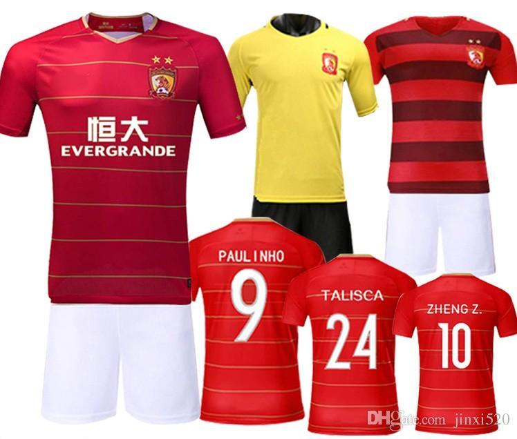 d7f104c04 Free shipping Talisca football shirt 2018 Guangzhou Evergrande jersey home soccer  jerseys 18 19 PAULINHO GOULART ZHENG Z. top quality