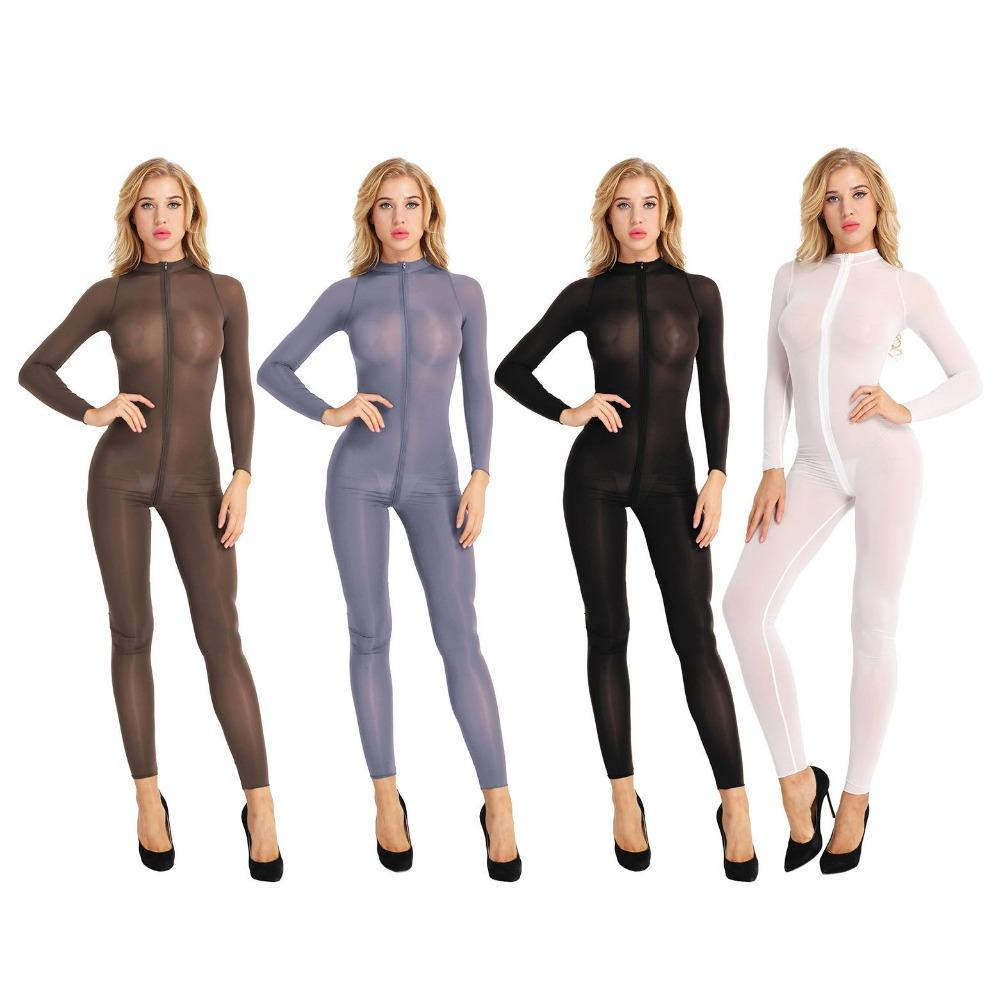 9bd77499dcff 2019 Women Sheer Opaque Stretchy Long Sleeve Shiny Jumpsuit Sheer Double  Crotch Zipper Leotard Bodysuit Sexy Catsuit Costume From Lorsoul