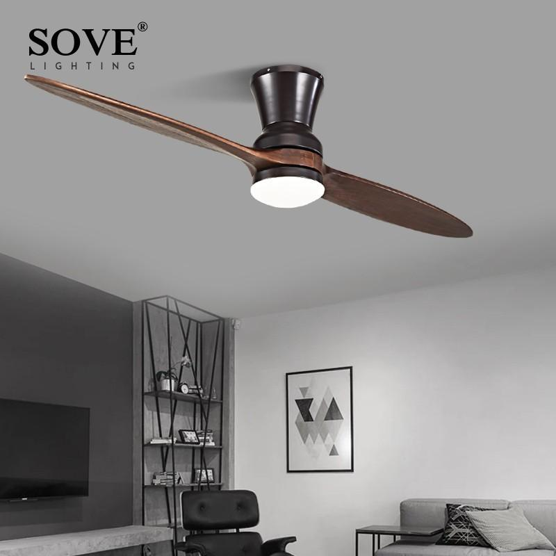 2019 Modern Led Village Industrial Wooden Ceiling Fan With Lights