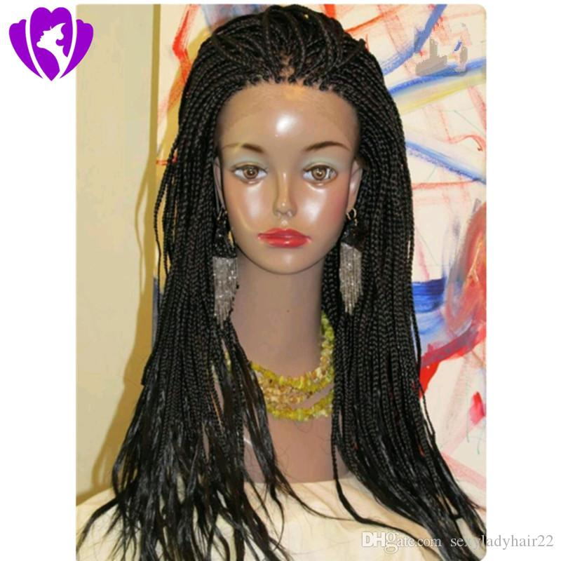 Lindo Totalmente mão trançado 360 laço Frontal caixa trançada peruca cor preta / marrom escuro / borgonha peruca dianteira do laço sintético para as mulheres negras