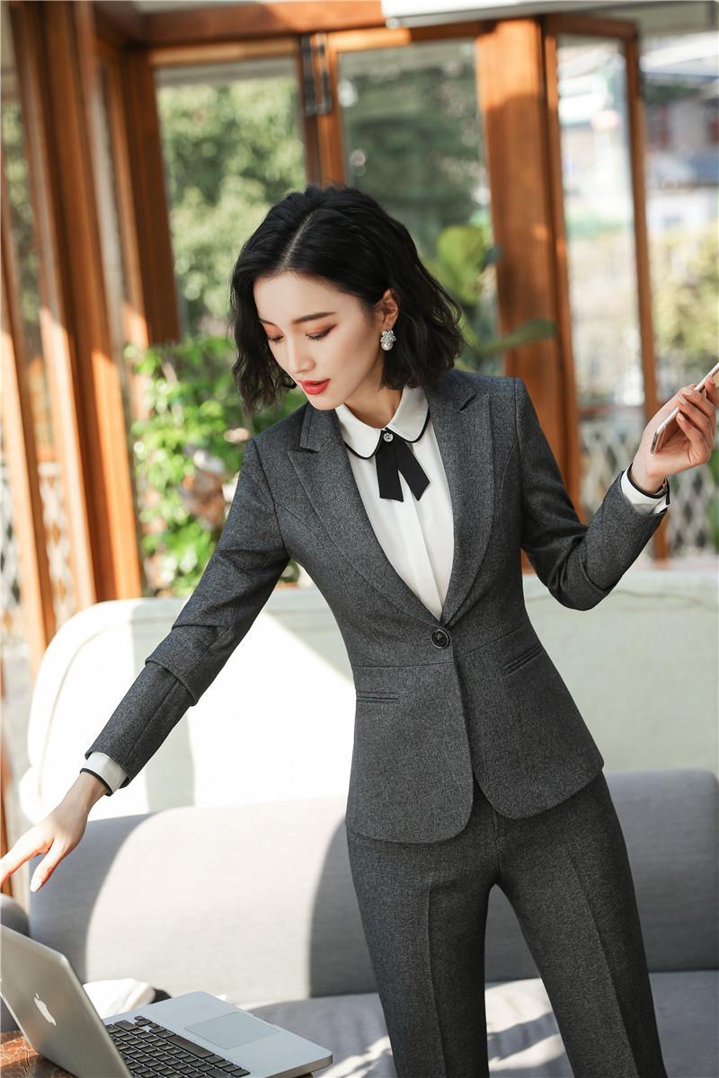 69b692069 Formal otoño invierno trajes profesionales con chaquetas y pantalones para  mujeres Trajes de pantalón de negocios Pantalones de mujer Conjuntos en ...