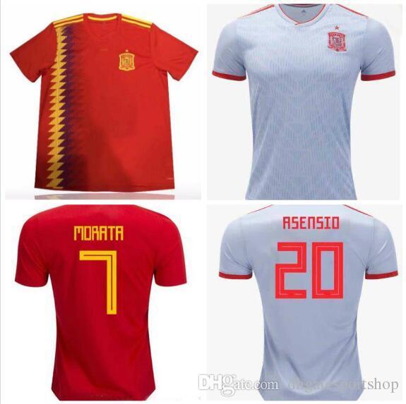 Compre España 2018 Copa Del Mundo Inicio Rojo Lejos Blanco Tailandia  Calidad Morata Busquets Isco A.Iniesta Sergio Ramos Jersey 18 19 España  Camiseta A ... 298e8b5732d1d