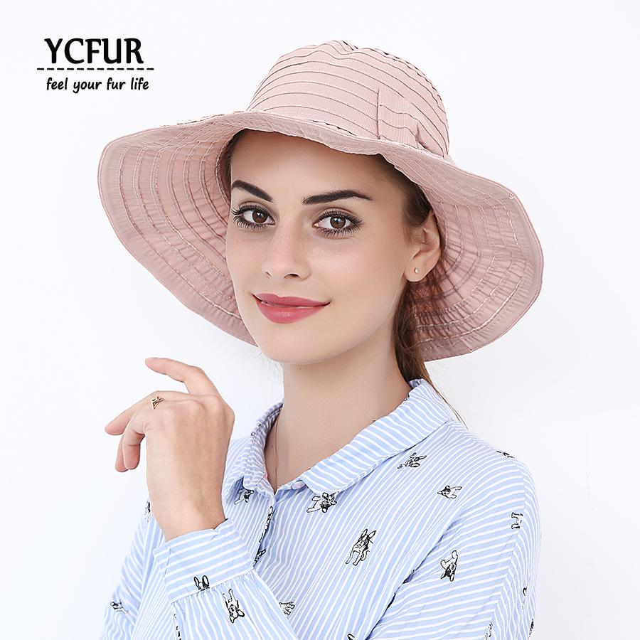 YCFUR Cotton Summer Hat Cap For Women Big Brim Sun Hats New Cute ... 5a863378a22f