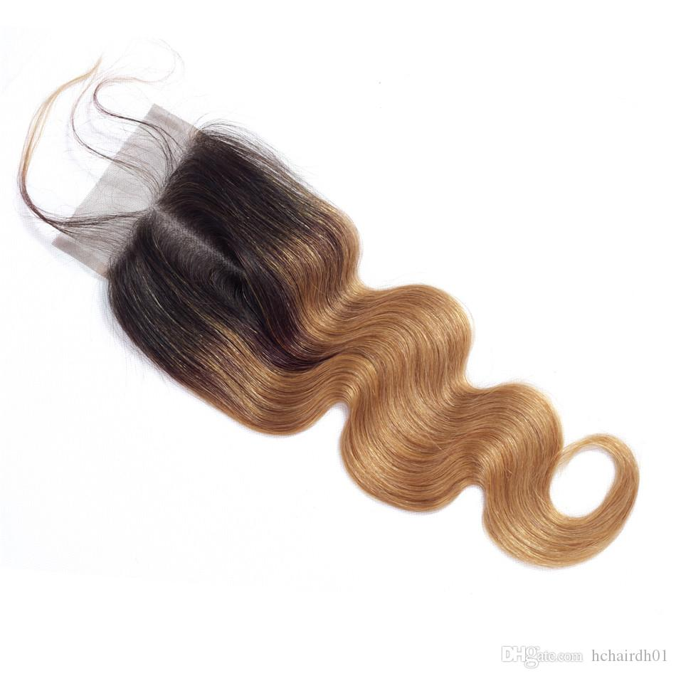 Cheveux vierges péruviens pré-colorés 3 faisceaux Body Wave Ombre Bundles de cheveux humains avec fermeture Ombre Blonde 1b / 27 Non remy tissage de cheveux péruvien