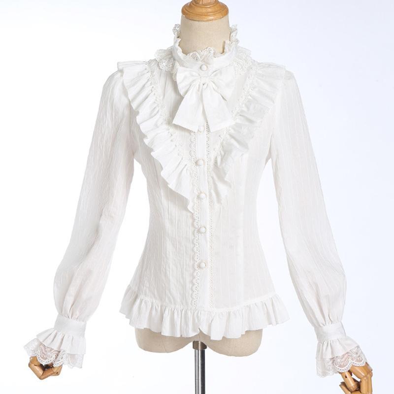 bb5b684a83 Compre Branco Plissado Gola Gravata Borboleta Luva Lanterna Do Vintage  Blusa Lolita Gothic Blusas Mujer De Moda 2018 Camisas Das Mulheres De  Piaocloth