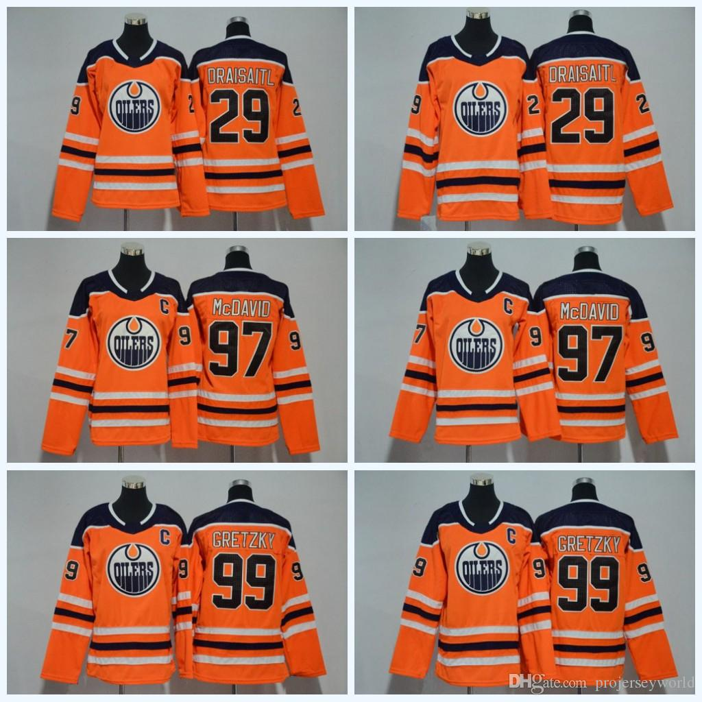 reputable site 02cb3 60ba0 97 Connor McDavid Womens Youth Edmonton Oilers 29 Leon Draisaitl 99 Wayne  Gretzky 2017-2018 Season New Team Ice Hockey Jersey All Stitched