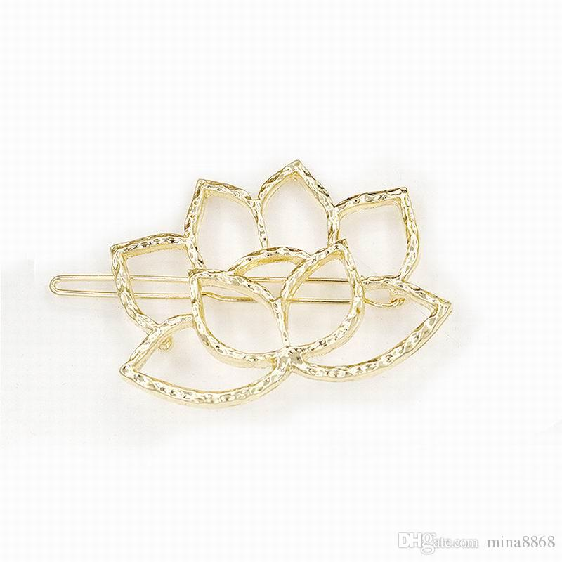 Exquisite Silver/gold tone 5.2*4cm Alloy Lotus Flowers Hairpin for women Headwear Girl Woman hair Ornament Accessories factory wholesale