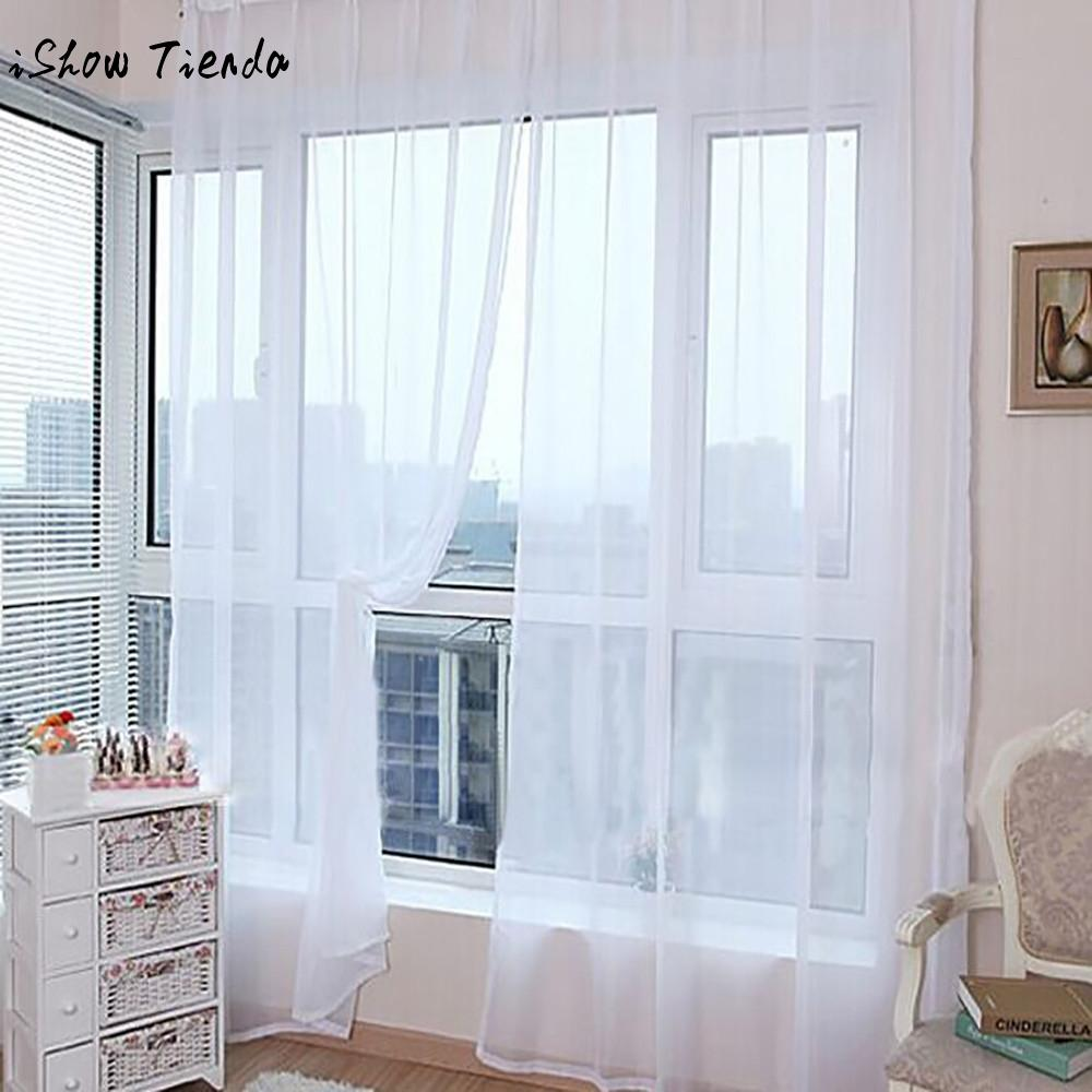 Cortinas modernas Para Sala de estar Cortinas 1 pc Pure Color Tulle Cortina Da Janela Da Porta Painel Drape Sheer Scarf Valances 200x100 cm