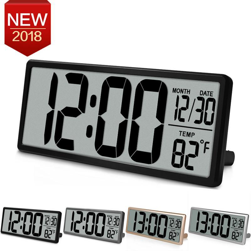 ca80efe7bf3 Compre Extra Grande Visão Relógio De Parede Digital Jumbo Alarm Clock 13.8  LCD Display Alarme Snooze Calendário Temperatura Interior Decoração Do  Escritório ...